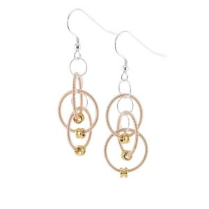 guitar string dangle earrings with floating circles of acoustic guitar string