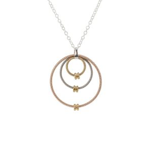 guitar string necklace made from three concentric circles of acoustic and electric guitar string on a silver chain