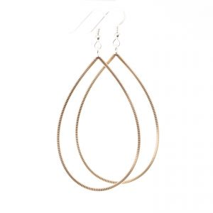 guitar string drop shaped earrings with silver ear hooks on a white background