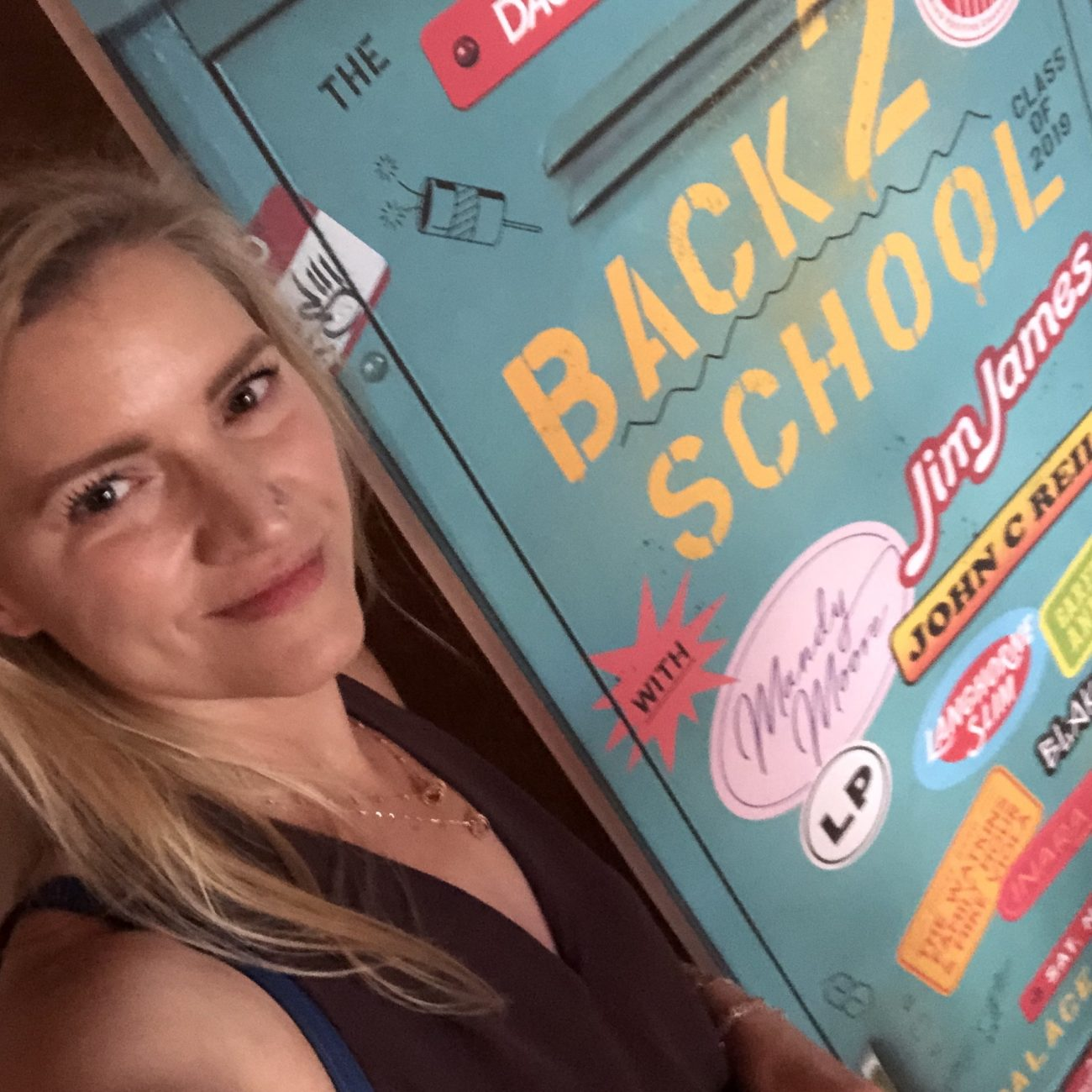 Michelle Dall'Acqua close up with a decorated school locker at the D'Addario foundation's back to school benefit concert