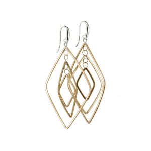 floating diamond-shaped dangling guitar string jewelry earrings with silver ear hooks on a white background